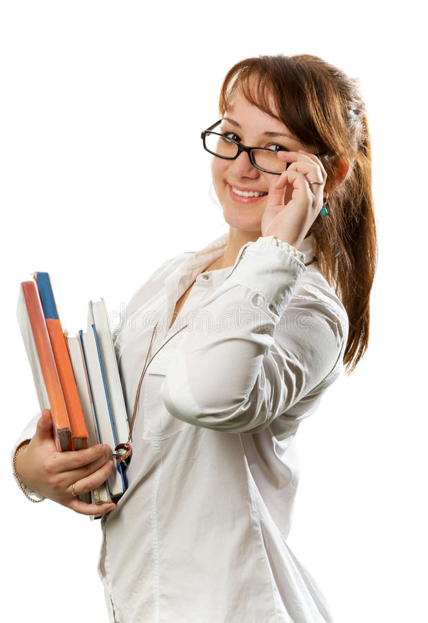La fille avec des livres photo libre de droits