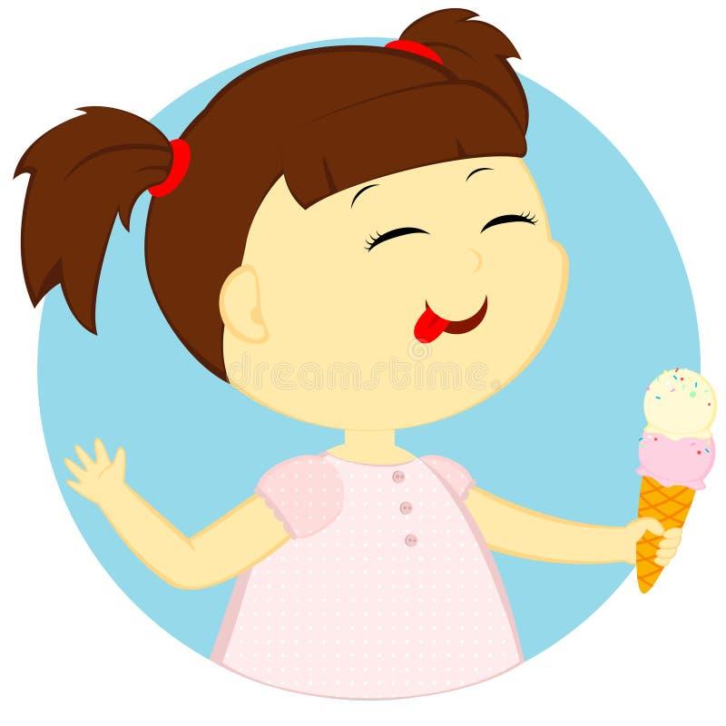 La fille avec la crème glacée  illustration de vecteur