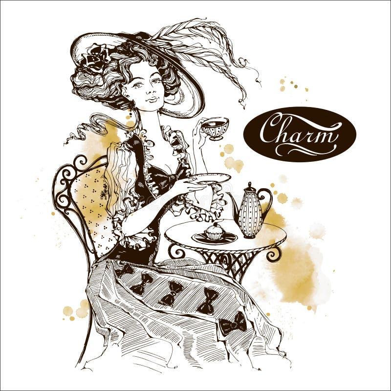 La fille avec le chapeau et la robe de cru Madame boit du thé Beau femme charme inscription dessins watercolor illustration de vecteur