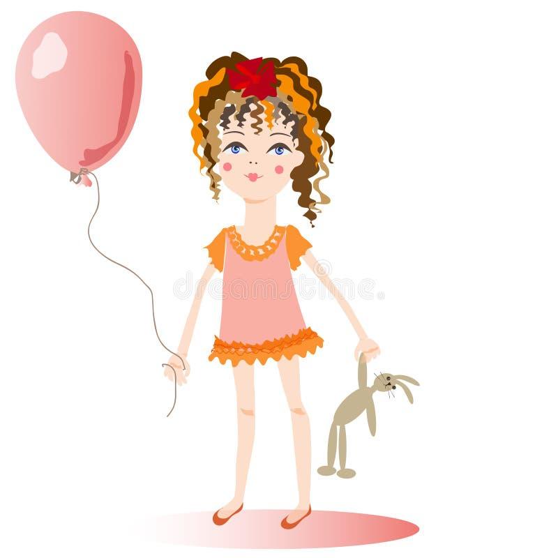 La fille avec un ballon. illustration stock