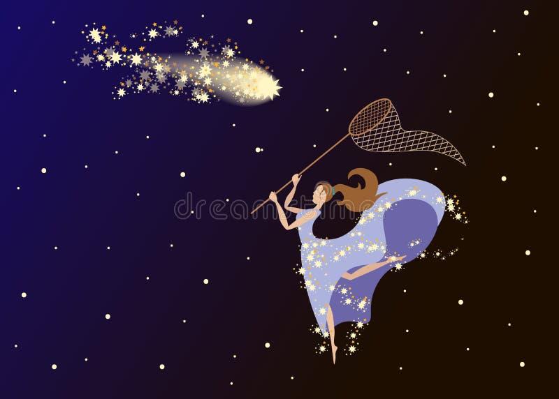 La fille avec un filet attrape une comète dans le ciel nocturne illustration libre de droits