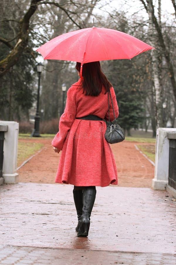 La fille avec un parapluie photographie stock libre de droits