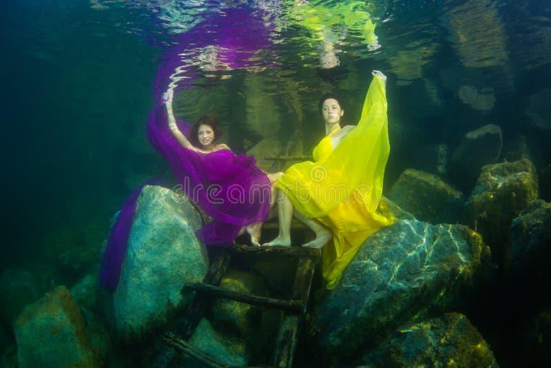 La fille avec un violon sous l'eau images libres de droits
