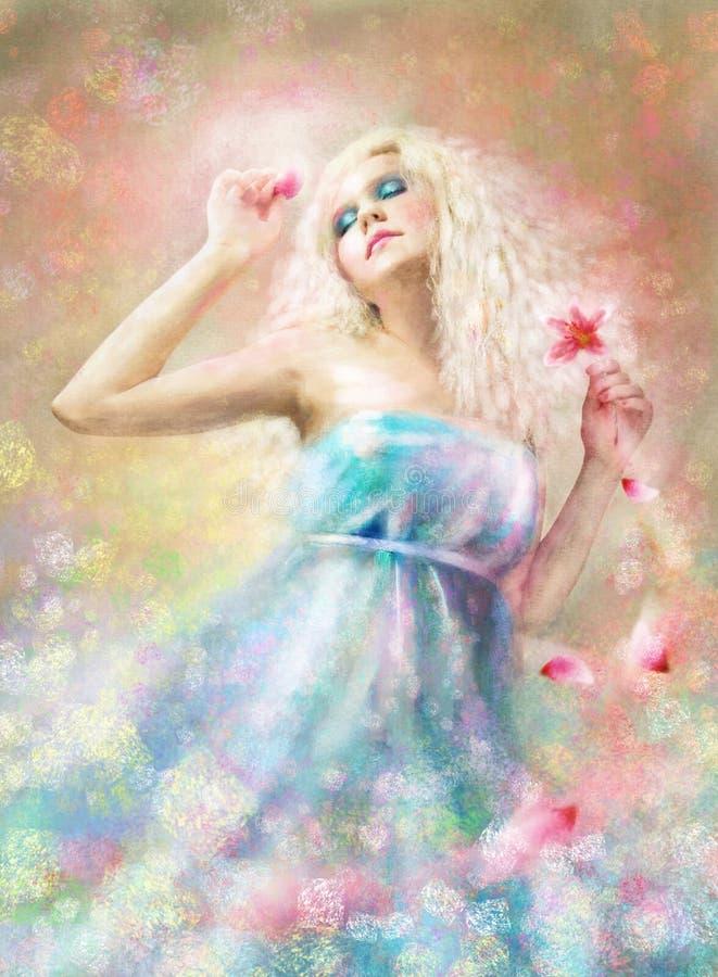 La fille avec une fleur illustration de vecteur