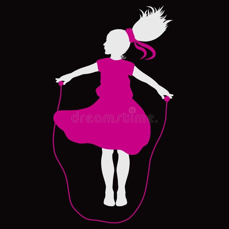 La fille avec une queue magnifique, dans une robe rose, sauts avec a illustration libre de droits