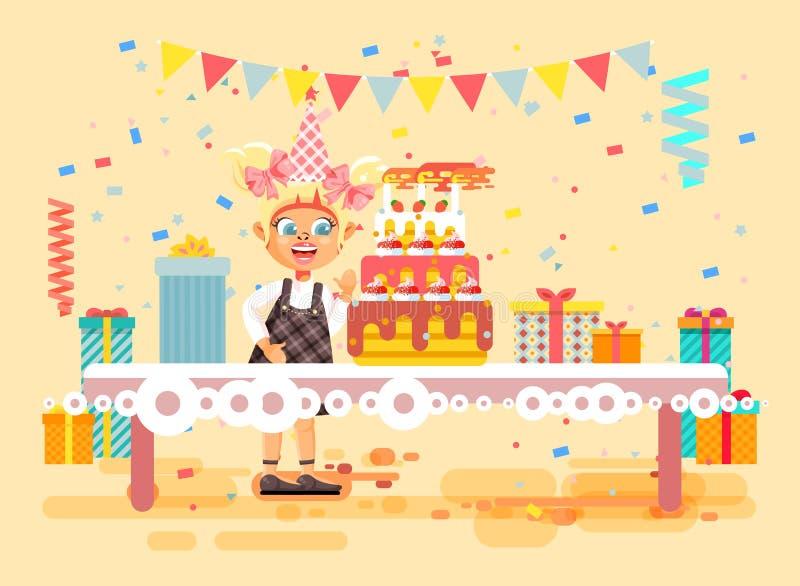 La fille blonde seule d'enfant de personnage de dessin animé d'illustration de vecteur célèbrent le joyeux anniversaire, félicita illustration de vecteur
