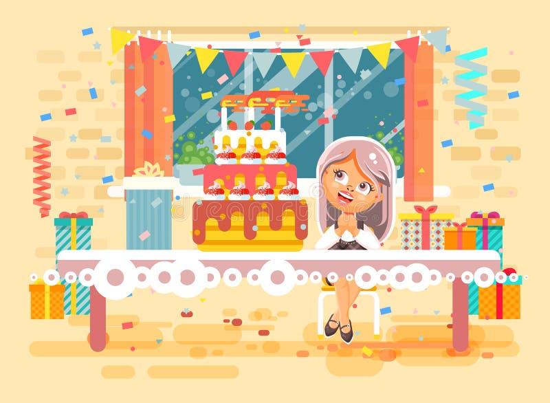 La fille blonde seule d'enfant de personnage de dessin animé d'illustration de vecteur célèbrent le joyeux anniversaire, félicita illustration stock