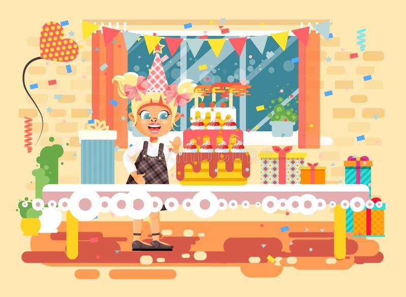 La fille blonde seule d'enfant de personnage de dessin animé d'illustration de vecteur célèbrent le joyeux anniversaire, félicita illustration libre de droits