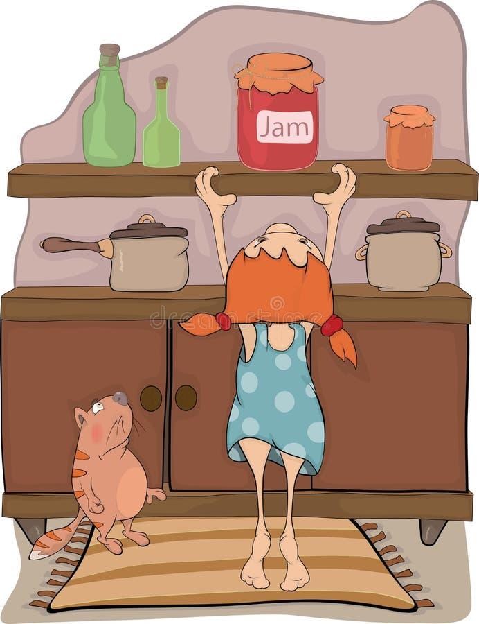 La fille, bourrage et un chat illustration stock
