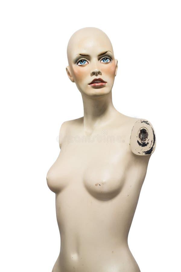 Mannequin chauve de fille d'isolement sur le fond blanc photographie stock