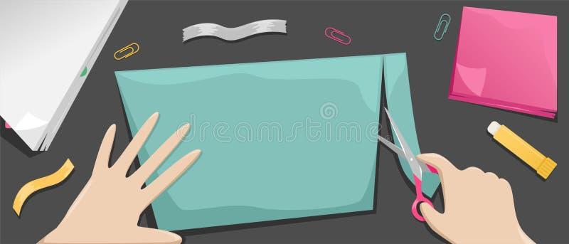La fille coupe une merde de papier de couleur Carte de souhait Passe-temps et métiers de papier illustration libre de droits
