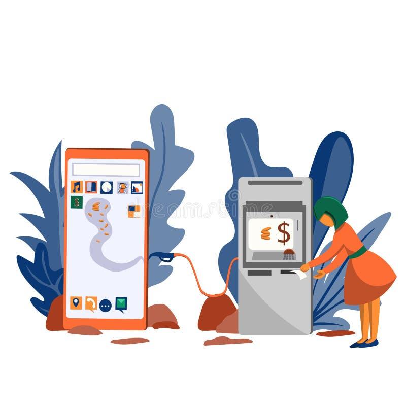 La fille crédite l'argent liquide par une atmosphère au téléphone Transfert d'argent liquide dans électronique illustration stock