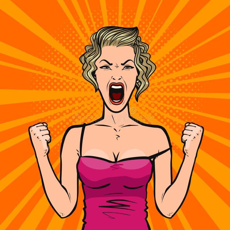 La fille crie fort ou jeune femme dans la rage Style comique d'art de bruit rétro Illustration de vecteur de dessin animé illustration stock