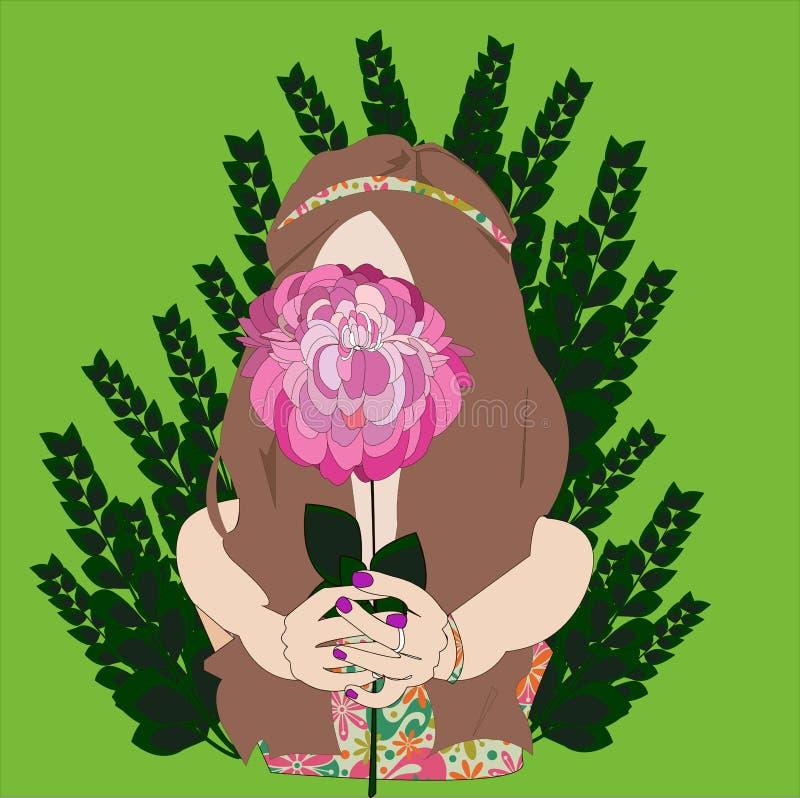 La fille d'été avec la pivoine de fleur, regardent si bonne photo libre de droits