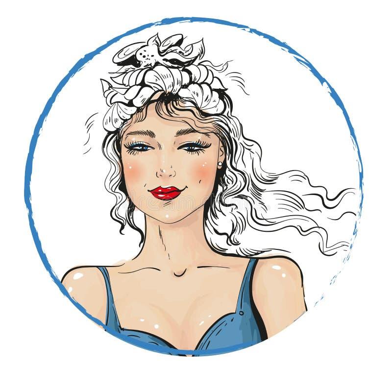 La fille d'été dans le bikini avec la guirlande des coquilles de mer et le sourire mignon dirigent l'illustration illustration de vecteur