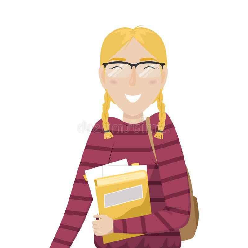 La fille d'étudiant avec des tresses et des verres tient des livres dans sa main illustration de vecteur