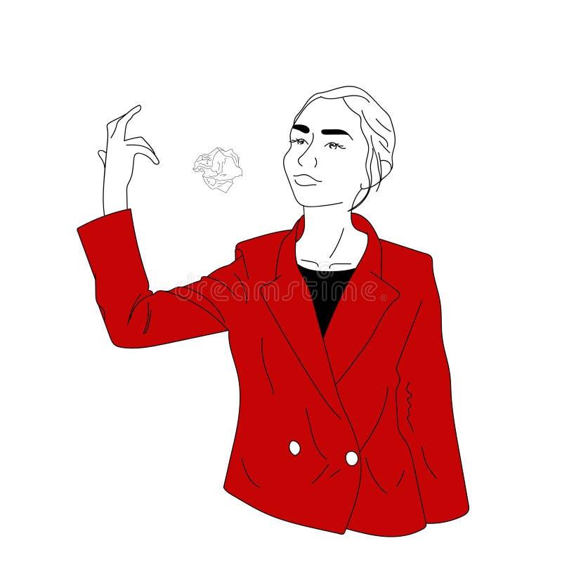 La fille d'affaires dans une veste rouge jette le papier chiffonné photographie stock