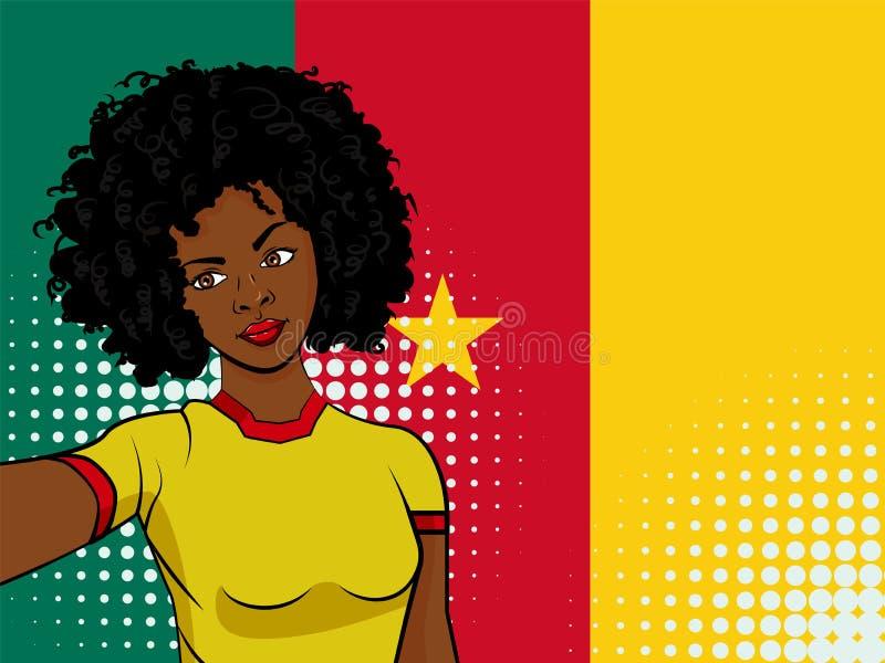 la fille d'afro-américain fait le selfie devant le drapeau national Cameroun dans l'illustration de style d'art de bruit Élément  illustration stock