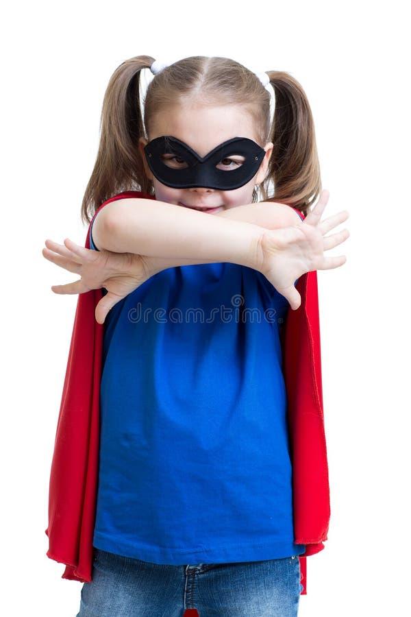 La fille d'enfant joue le super héros photographie stock libre de droits