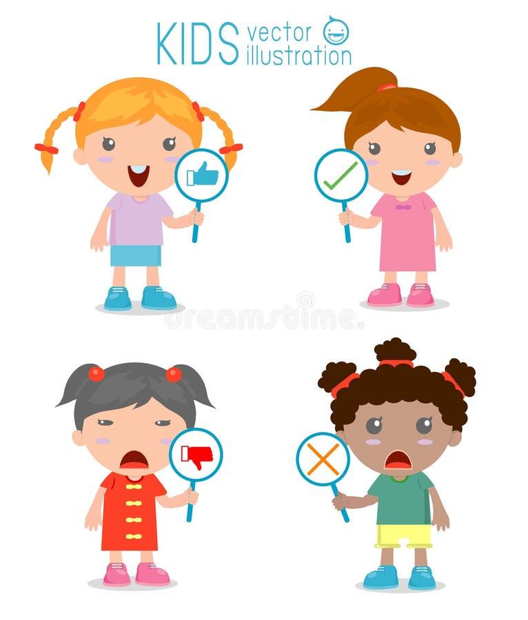 La fille d'enfants ont un plat de signe de répondre à correct ou à incorrect illustration libre de droits
