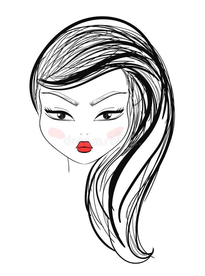 La fille d'isolement de mode avec le maquillage et les lèvres rouges esquissent le style illustration libre de droits