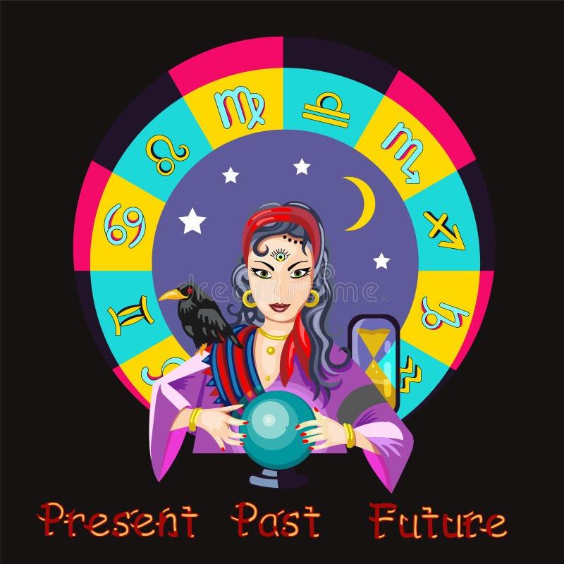 La fille d'oracle prédit l'avenir sur un illus magique de vecteur de boule photo stock
