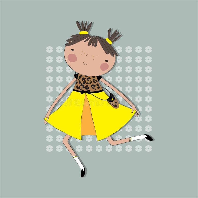 La fille dans la robe jaune court sur les couleurs de fond illustration libre de droits