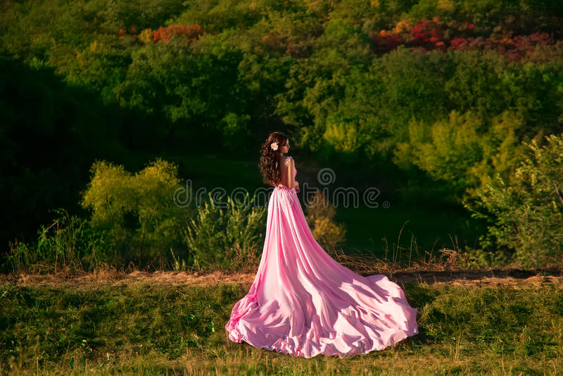 La fille dans la robe rose transparente photos libres de droits