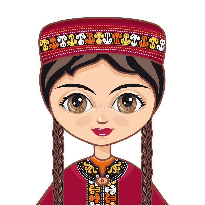 La fille dans la robe turkmène Portrait avatar images stock