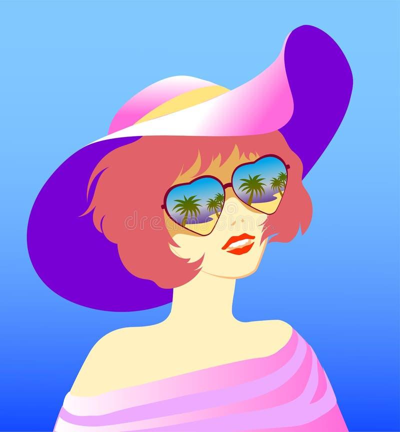 La fille dans le chapeau et les verres illustration libre de droits