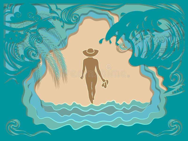 La fille dans le chapeau marche le long de la plage sablonneuse de mer illustration libre de droits