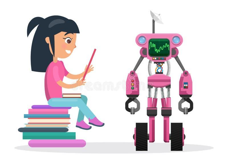La fille dans le chemisier s'asseyent sur la pile des livres près du robot illustration libre de droits