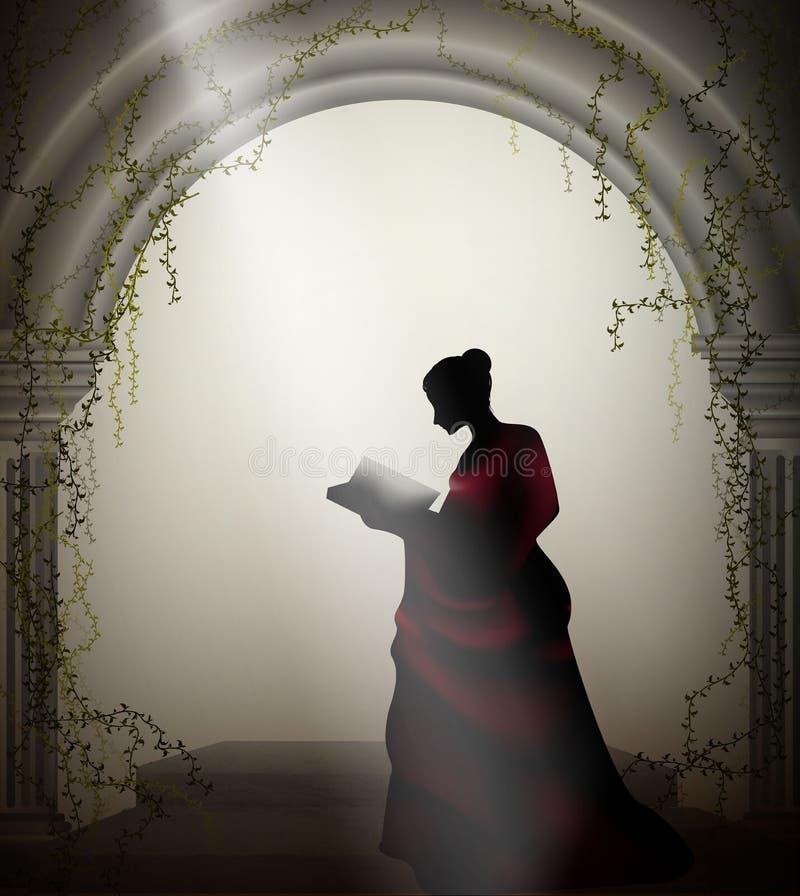 La fille dans la robe rouge lit le livre dans le château de la Renaissance, lecture romantique, illustration stock