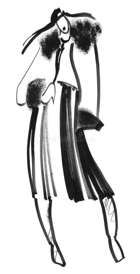 La fille dans une jupe plissée et un manteau avec un bord illustration libre de droits