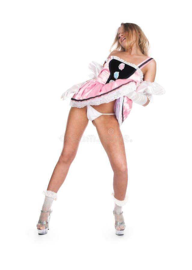 La fille dans une robe rose courte photos libres de droits