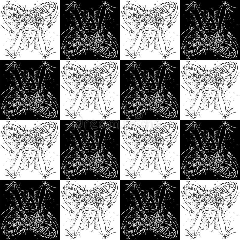 La fille de dessin noire et blanche de texture de zodiaque de Bélier sans couture de signe montre des klaxons avec ses mains et d illustration libre de droits