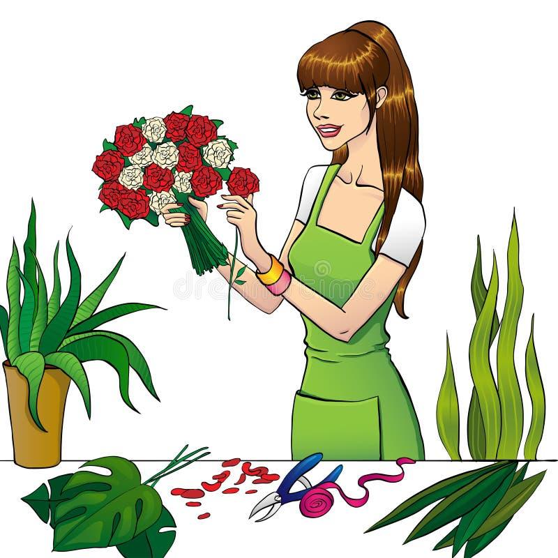 La fille de fleuriste illustration libre de droits
