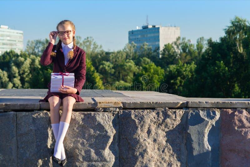 La fille de l'école s'assied avec les manuels, endroit pour l'inscription image libre de droits