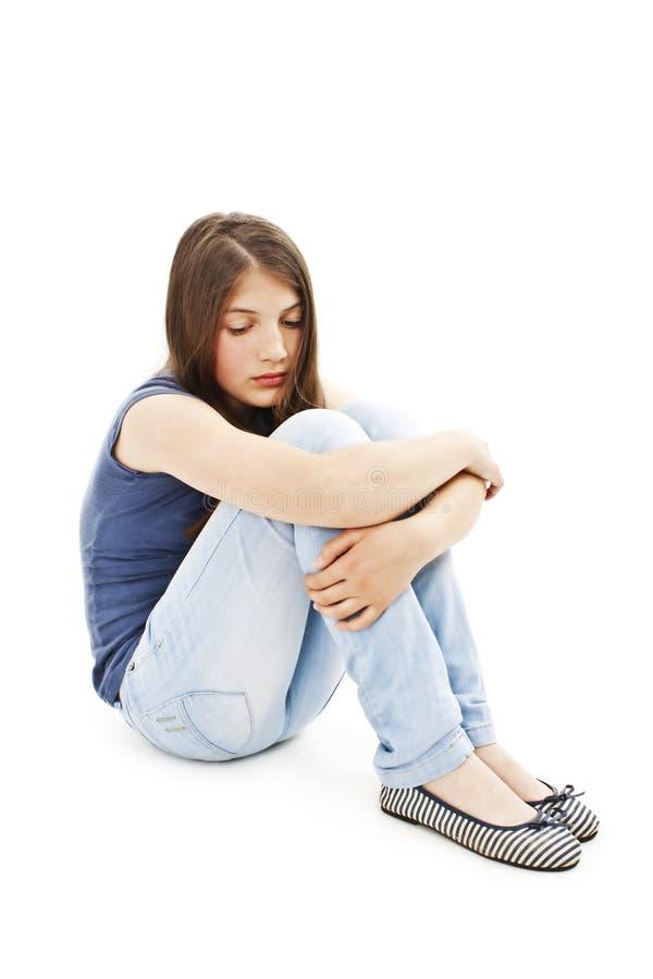 La fille de l'adolescence de dépression a pleuré seul photographie stock