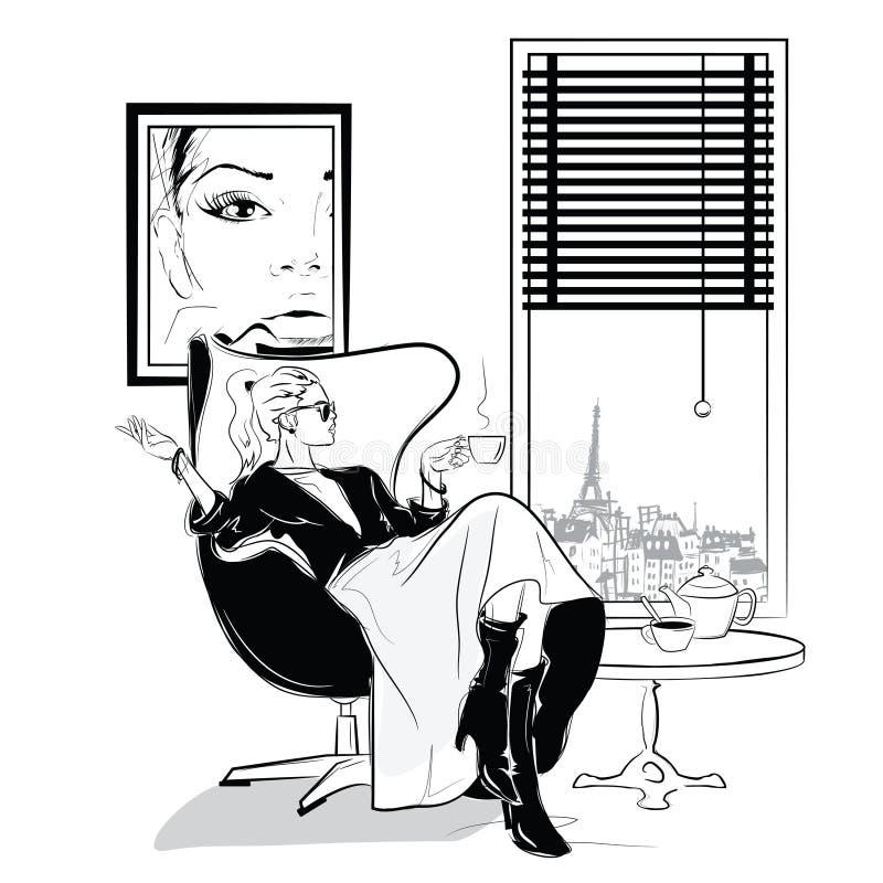 La fille de mode dans le style de croquis détend avec une tasse de thé illustration stock