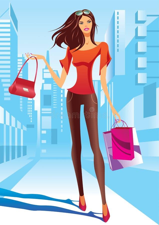 La fille de mode marche sur une rue illustration de vecteur