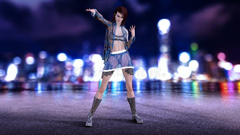 La fille de la science fiction dans l'équipement de pointe posant avec l'horizon de ville de nuit à l'arrière-plan, la scène futu illustration de vecteur