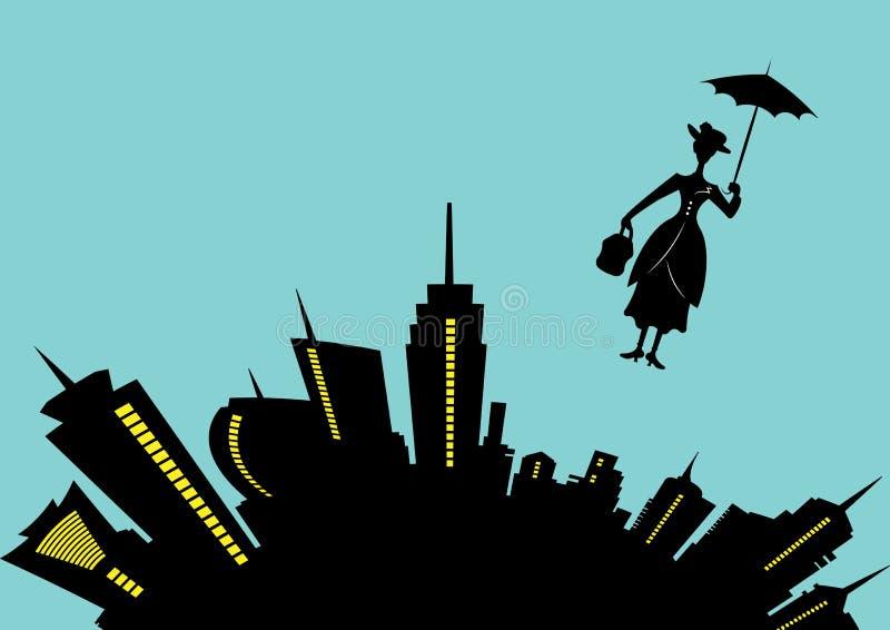 La fille de silhouette flotte avec le parapluie dans sa main, style de Mary Poppins, illustration de vecteur illustration de vecteur