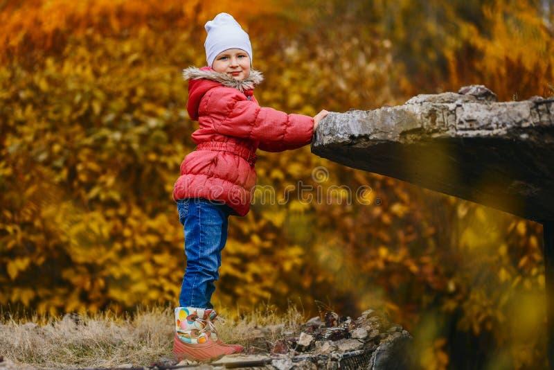 La fille de sourire de cinq ans se tient en parc d'automne image stock