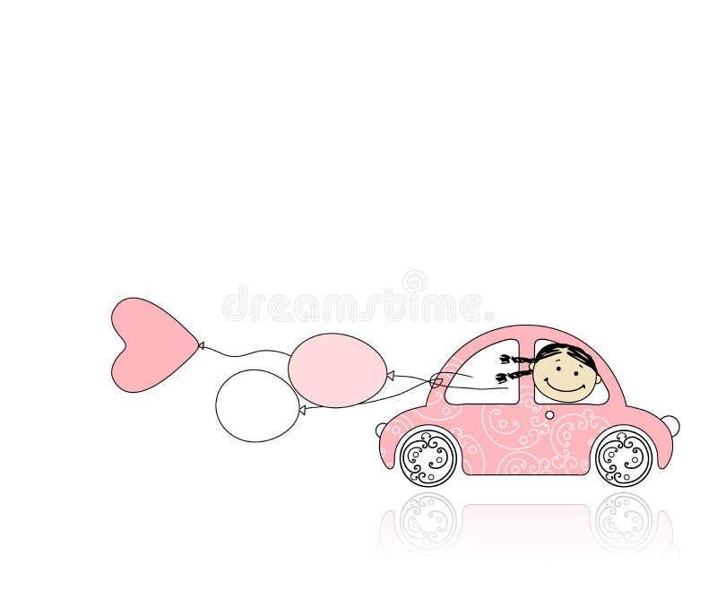La fille de sourire derrière la roue dentellent le véhicule pour votre conception illustration libre de droits