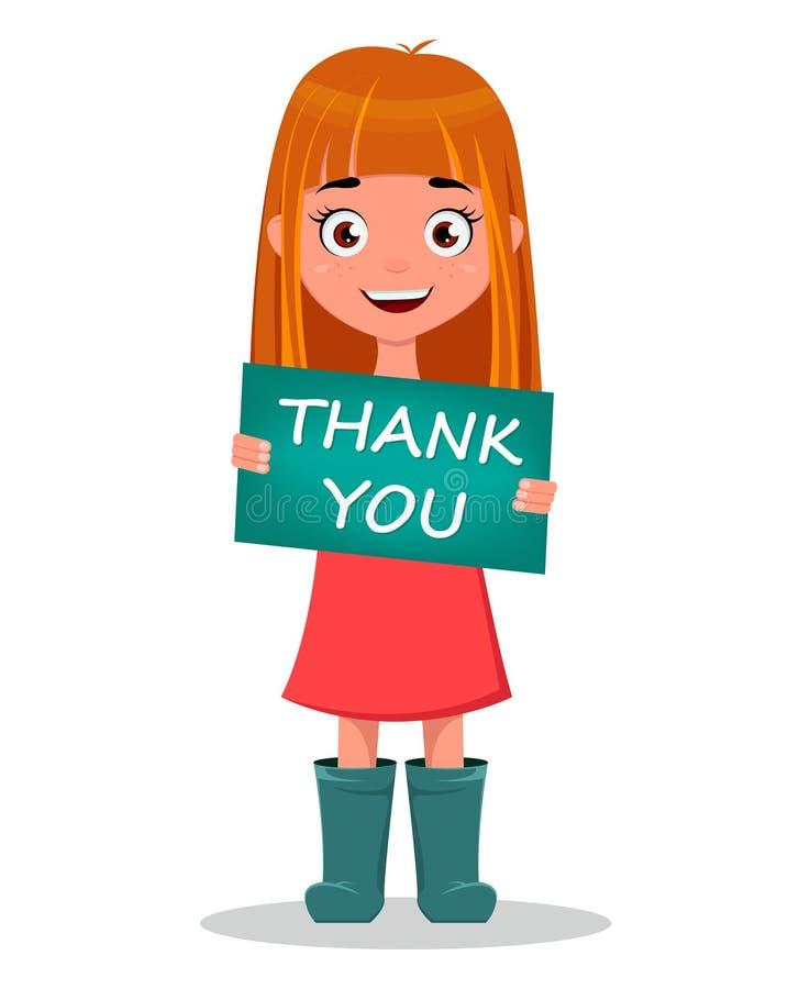 La fille de sourire drôle mignonne de bande dessinée tenant le ` de signe vous remercient ` illustration de vecteur