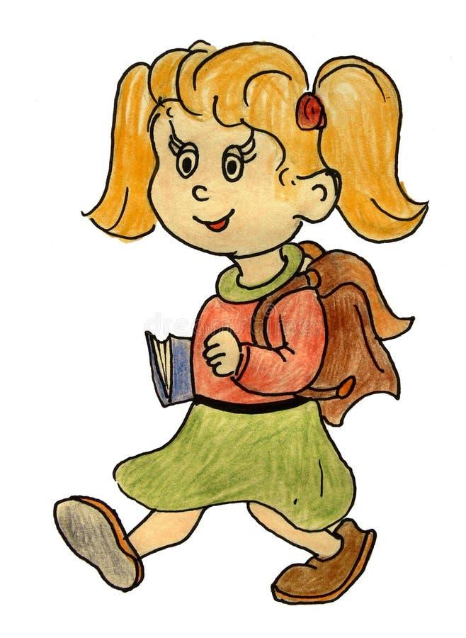 La fille de sourire va à l'école, écolière photo libre de droits