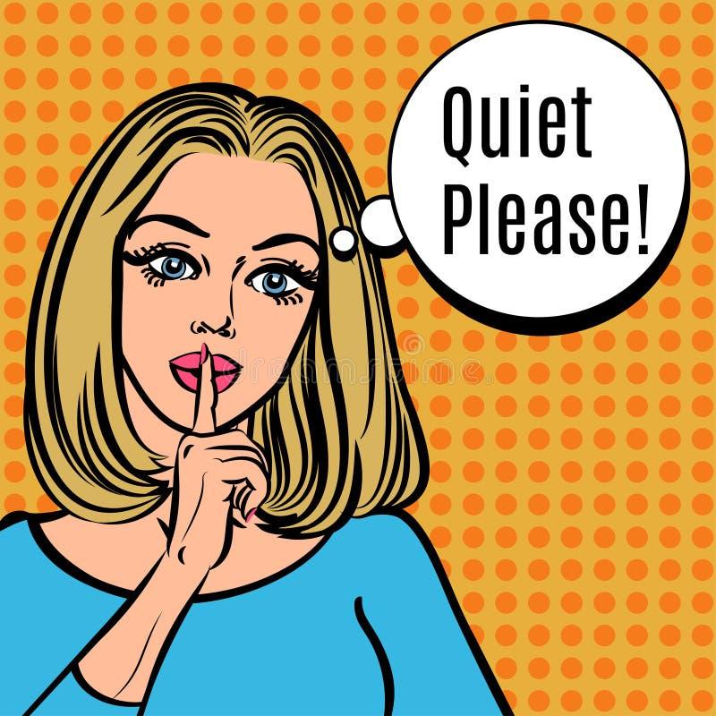 La fille dit tranquille svp ! Rétro femme de vecteur avec le signe de silence illustration libre de droits