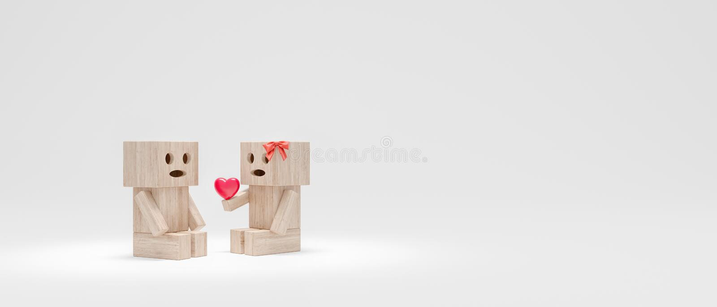 La fille donne au type un coeur, les caractères en bois drôles 3d pour rendre illustration stock