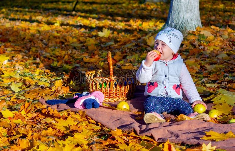 La fille en automne mange une pomme photos stock